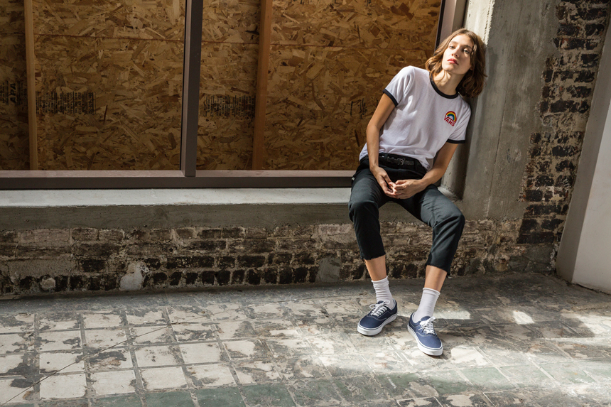 Female model and musician Zarina Nares modeling for Vans Girls in a downtown LA warehouse.
