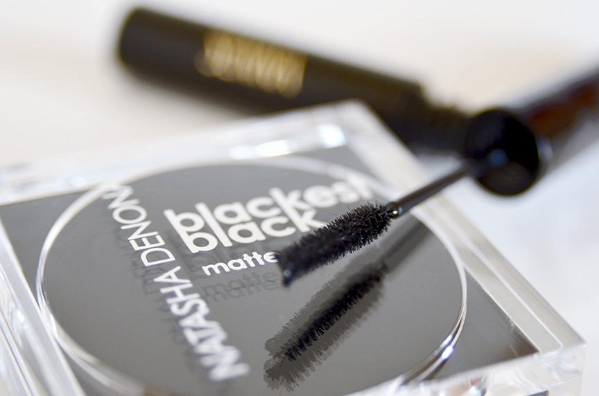 senna cosmetics lash detail mascara, natasha denona blackest black eyeshadow matte