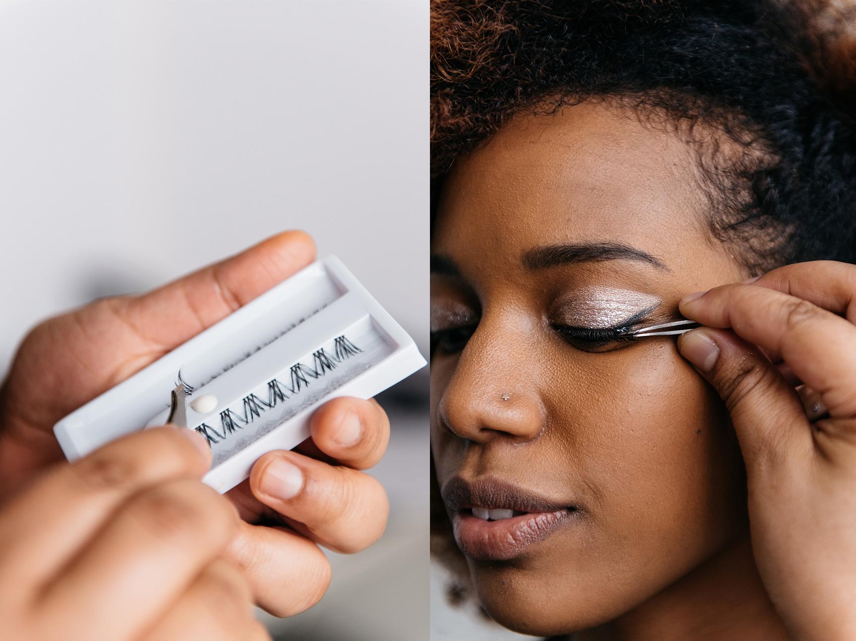 applying faux lashes