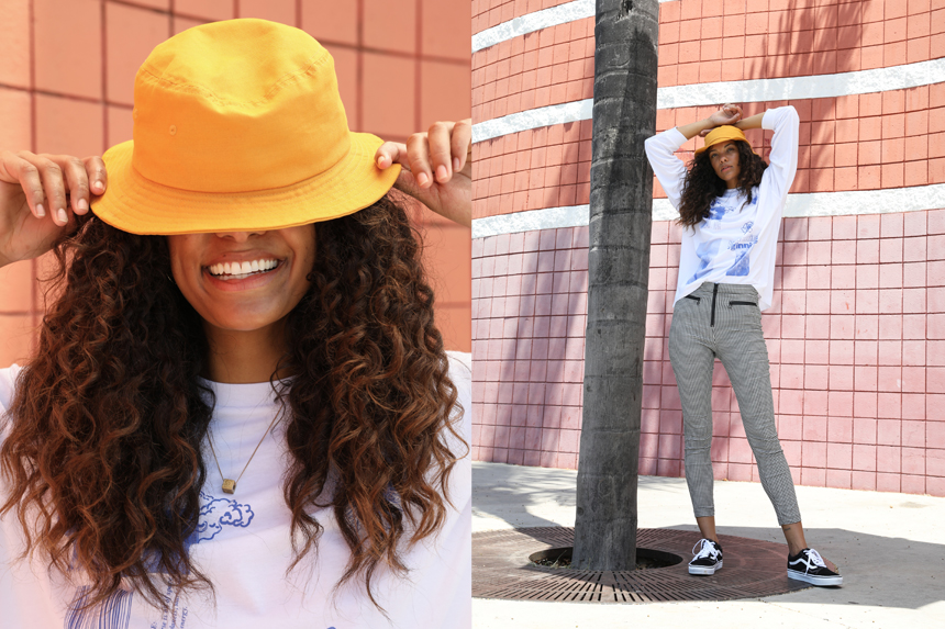 model with yellow hat for urban outfitters