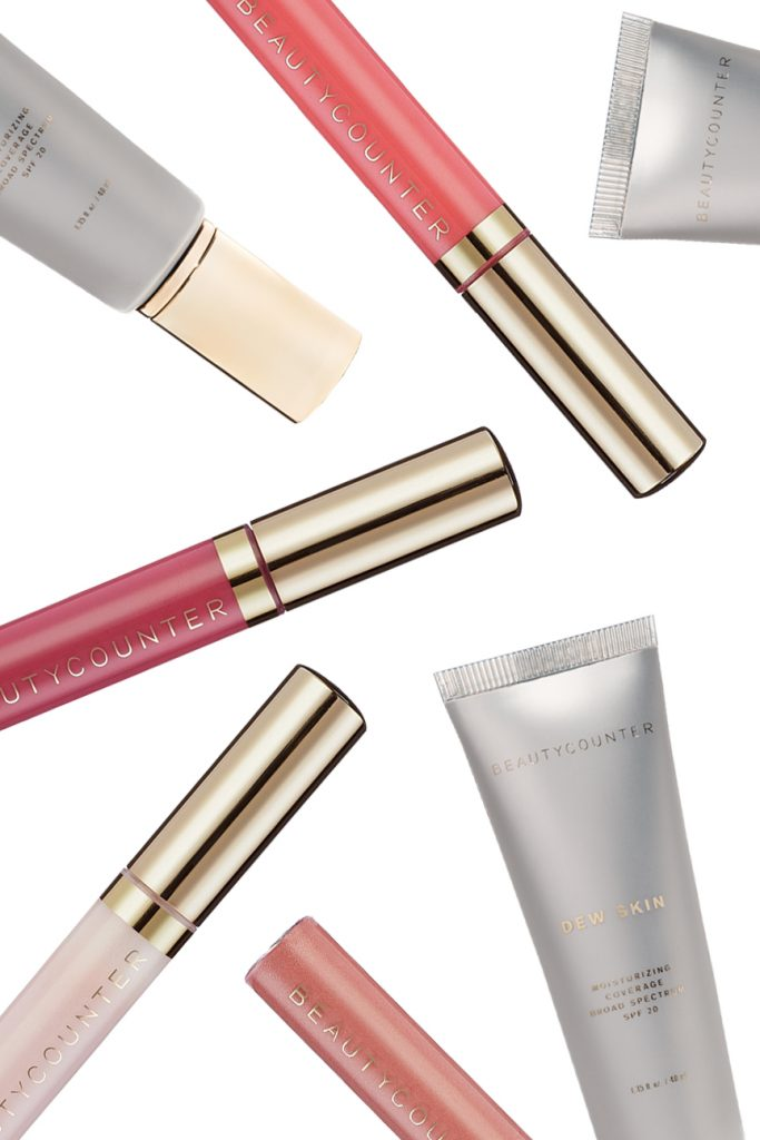 top beauty products for teens from Beautycounter with dew skin foundation and colorful lip gloss